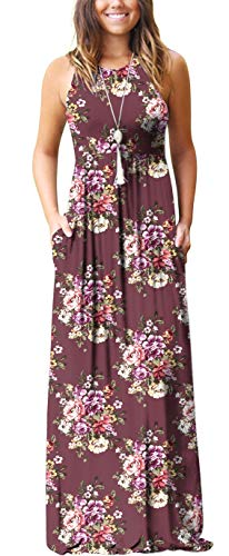 GRECERELLE Women's Summer Sleeveless Racerback Loose Plain Maxi Dress Floral Print Casual Long Dresses with Pockets Brick Red-L