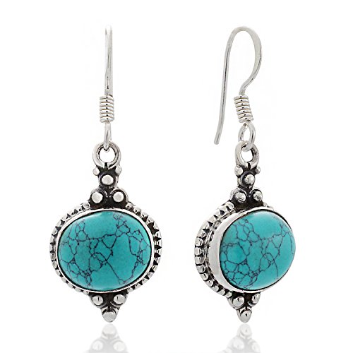 925 Sterling Silver Blue Turquoise Gemstone Indian Inspired Vintage Oval Dangle Hook Earrings 1.5