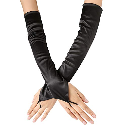 Xuhan Long Flapper Fingerless Evening Satin Gloves for Women Elbow Length 1920s (Black)