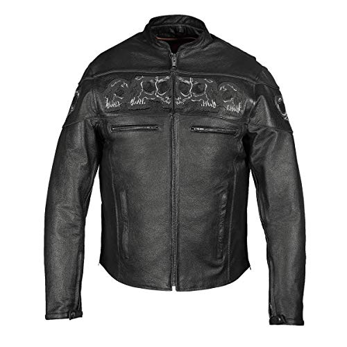 - MEN'S REFLECTIVE SKULL COWHIDE LEATHER MOTORCYCLE JACKET (2XL)