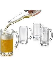 Classic Simple Beer Mug Set, Beer Mugs with Handles, Glass Beer Steins, Freezable Beer Glasses, Beer Mug Set of 4 - 15 Ounces