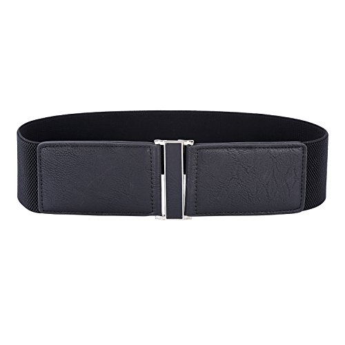 Women's Metal Buckle Women's Elastic Waist Cinch Belt (XL,Black 466-1)