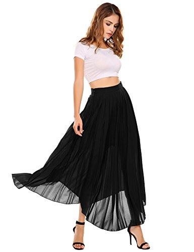 Zeagoo Womens Retro Summer Skirt with Pleat, Type6-black, Medium