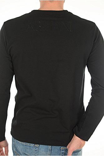 EMPORIO ARMANI CREW NECK T-SHIRT L/SLEEVES BLACK (LARGE)