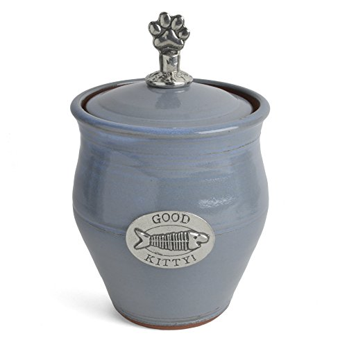 Oregon Stoneware Studio Good Kitty! Pet Treat Jar, Light Blue