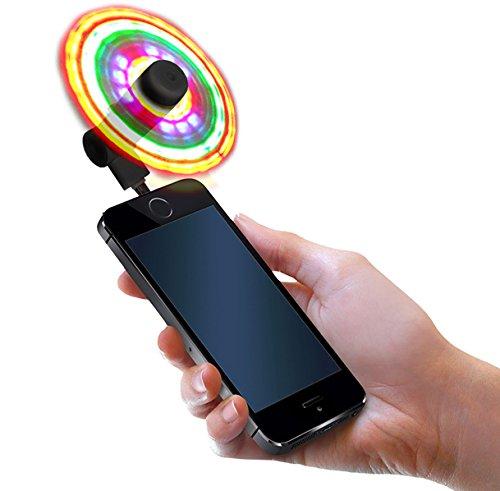 FlashFan - Light Up Fans for Cellphone - Flash Fan LED Phone Fan - Multicolored Flashing Smartphone Fan, (iOS - iPhone Only Model) Burning Man, EDC, Mardi Gras, Festival, or Halloween (Black) -