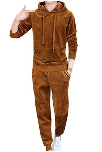 Comfy Men's Velour Pure Color Hooded 2 Pieces Sport Sweat Suit Set Yellow XL