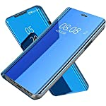 Jotech® Mirror View Flip Cover for Samsung Galaxy S21 Ultra(Blue)