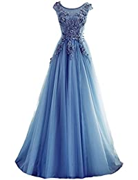 Charming Applique Lace Corset Evening Dresses Prom Gown Party Dress