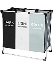"""BLOOMBY 3-Section Laundry Sorting Hamper - 135L Capacity Dirty Clothes Bag, Sorter Basket with 3 Compartments, Folding Aluminum Frame, and Carrying Handles - for Bedroom, Bathroom & More (26 X 24"""")"""