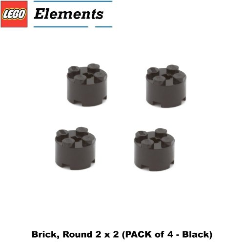 Lego Parts: Brick, Round 2 x 2 (PACK of 4 - Black)