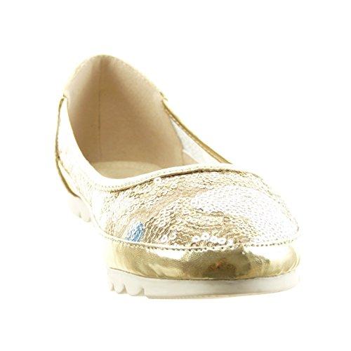 Sopily - Chaussure Mode Ballerine slip-on Cheville femmes pailettes verni Talon bloc 1 CM - Or