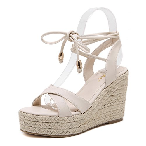 MAKEGSI Womens Jute-Rope Middle Wedge Heel Summer Shoes Flip Sandals Lace Up (8.5, Creamy-White)