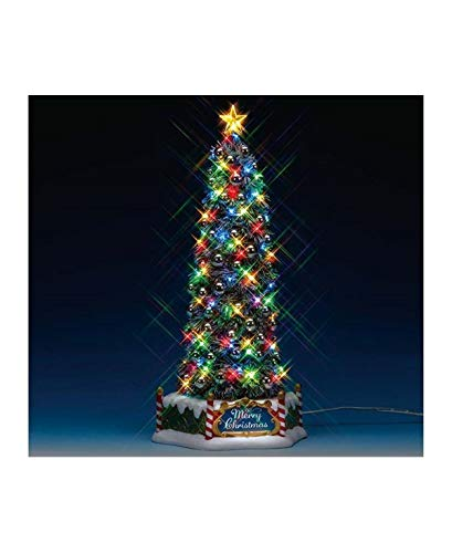 Lemax New Majestic Xmas Tree; with Sights and Sounds; Xmas Tree Lights Up with Either Flashing Lights or Steady Lights; Dimensions: 13.27 x 6.30  x 6.06 Inches (Village Lemax Xmas)
