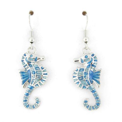 (Silver Tone Cute Enamel Seahorse Sea Horse Necklace and Earrings (Blue Earrings))