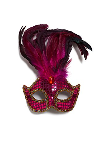 [Venetian Mask With Plumage Feathers Sequins Mardi Gras Masquerade Carnival Decor (Bright pink, gold, scarlet red, crimson, magenta)] (Balls To The Wall Costume)