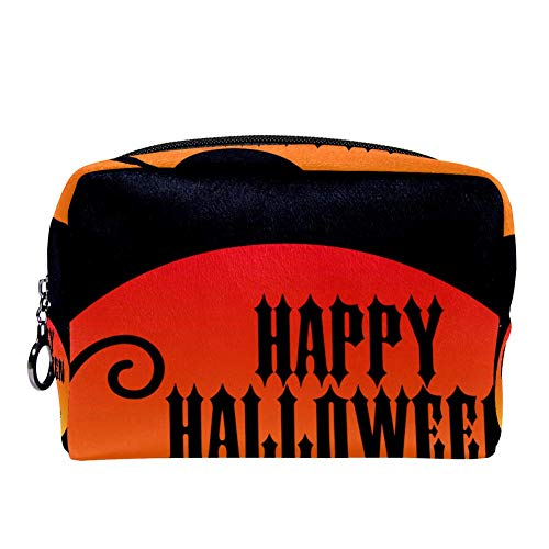 MAPOLO Happy Halloween With Black Cat Makeup Bag Toiletry Bag for Women Skincare Cosmetic Handy Pouch Zipper Handbag -