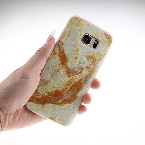 Funda Samsung Galaxy S7,XiaoXiMi Carcasa de Silicona TPU Suave y Esmerilada Funda Ligero Delgado Carcasa Anti Choque Durable Caja de Diseño Creativo - Flores de Elefante Mármol