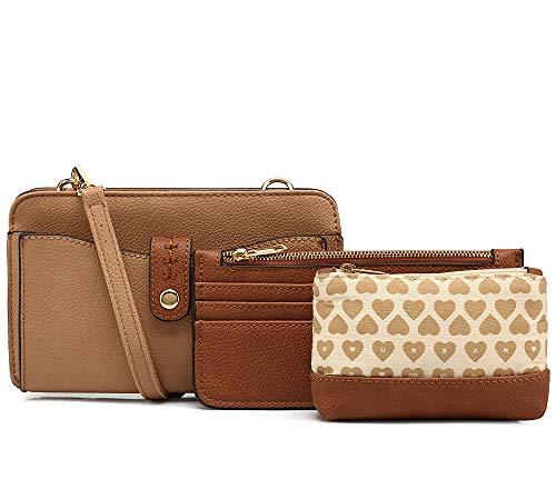 1 Apricot Handbag - Clutch Purses for Women Purse Organizer Wallet | 3-in-1 Crossbody Handbag Set by Mia K. Farrow (Apricot)