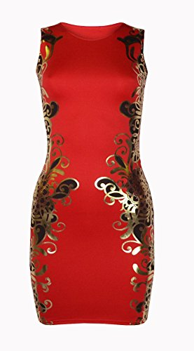 Womens Claire Gold Baroque Side Print Bodycon Mini Dress (Mtc) (10 (uk 14), Red/gold)