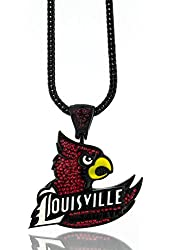 """Iced Out Black Louisville CARDINALS Pendant w/ 30"""" & 36"""" Franco Chain"""