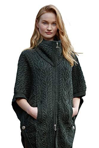 4b8aaaacc967f3 West End 100% Irish Merino Wool Batwing Aran Knit Jacket (Small/Medium,