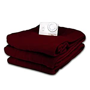 Soft Microplush Twin Size Electric Heated Blanket by Biddeford (Dark Crimson)