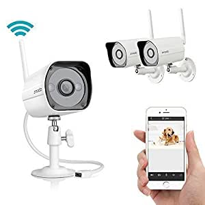 Zmodo 2 Lot Wireless Easy iPhone Mobile View Setup 1 Megapixel 720P HD Indoor/ Outdoor Wireless Wi-Fi IP Network Camera Day Night IR-Cut Home Monitoring CCTV Security Camera - Smart Link Set Up in Seconds