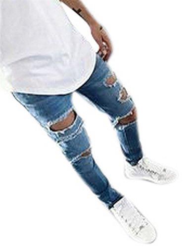 Men's Fashion Destroyed Distressed Jeans Ripped Skinny Denim Pants (Skinny Jeans Fashion Men)