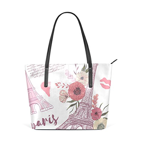 Floral TIZORAX Tower Top Purses Fashion PU Handle Handbag Eiffel Totes Shoulder Paris Women's Bags Leather tqrH1antx