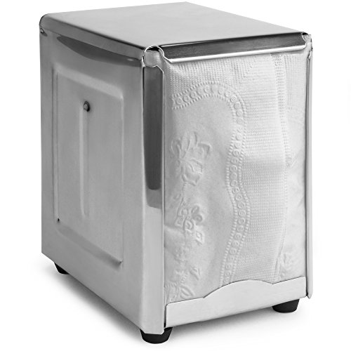 (Back of House Ltd. Commercial Spring-Load Stainless Steel Low-Fold Napkin Dispenser for Restaurants, Diners, & Home Use)