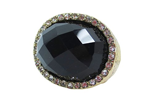 [Goth Steampunk Queen Jewel Chunky Faceted Color Acrylic Stone Ring (Black)] (Gothic China Doll Costume)