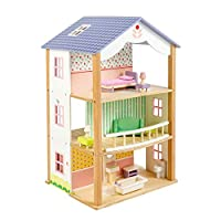 """3 Storey Bluebird Villa Doll House with Swivel Base - 26"""" Tall Classic Doll House with 8 Rooms and 15 Doll Furniture Pieces - Premium Quality Construction - Develops Social & Emotional Skills - 3 +"""