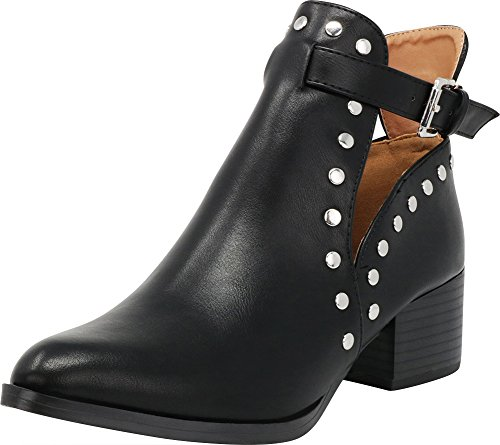 Cambridge Select Women's Closed Pointed Toe Side Cutout Dome Studded Buckle Strap Chunky Stacked Block Heel Ankle Bootie,6 B(M) US,Black PU