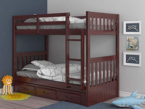 Discovery World Furniture Mission Twin Over Twin Bunk Bed with 3 Drawers, Desk, Hutch, Chair and 5 Drawer Chest in Merlot Finish