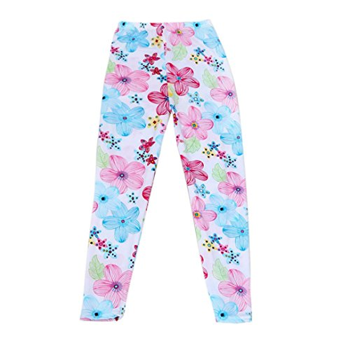 BUBASON Baby Girl Stretch Render Children Trousers Tenths pants Leggings (100, White) (Scrub Star Pull On Scrub Pant)