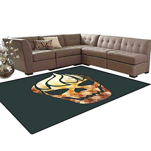 Modern Door Mats Area Rug Gothic Skull with Fractal Effects in Fire Evil Halloween Concept Anti-Skid Area Rugs 6'x9' Yellow Pale Caramel Dark Grey]()