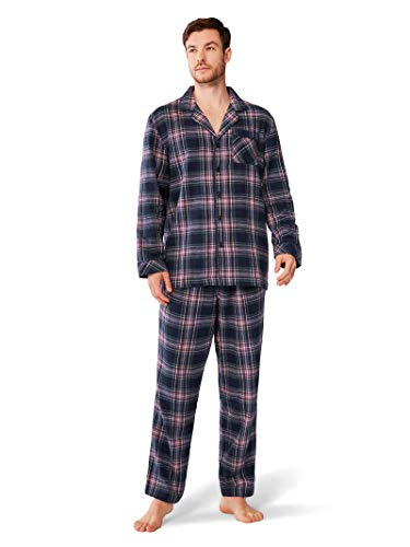 SIORO Mens Pajama Sets 100% Cotton Flannel Sleepwear Soft Plaid PJ Set Loungewear,Purple M
