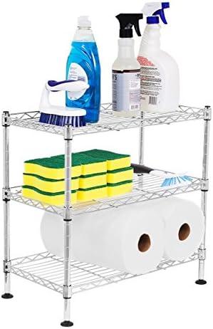 Internet s Best 3-Tier Mini Wire Utility Shelving – Chrome – Shelf – Adjustable Rack Unit – Kitchen Bathroom Pantry Laundry Storage – Under The Sink Organization – Organize Your Cabinets – SPI