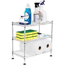 Internet's Best 3-Tier Mini Wire Utility Shelving | Chrome | Shelf | Adjustable Rack Unit | Kitchen Bathroom Pantry Laundry Storage | Under the Sink Organization | Organize your Cabinets | Spi