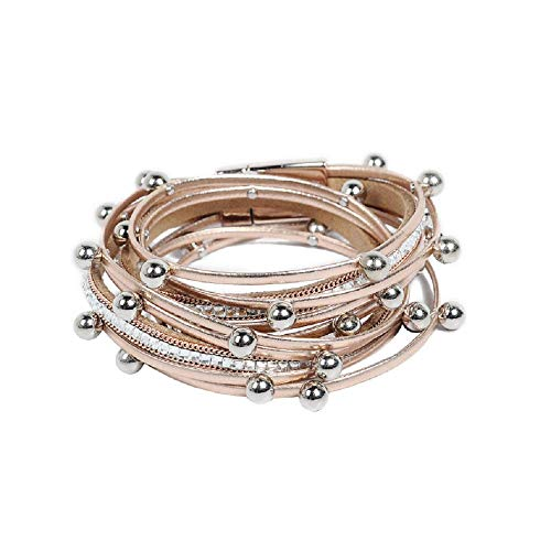 TOKO Multilayer Shiny Leather Wrap Bangle Pearl Crystal Bracelets Women - Champagne