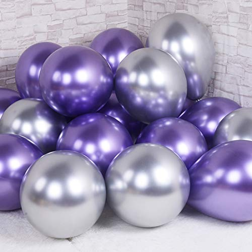 Party Balloons 12inch 50pcs Latex Metallic Chrome Balloon in Purple Silver Thicken Balloon for Wedding Graduation Birthday Baby Shower Christmas Valentine's Day Party Supplies(Purple and Silver)