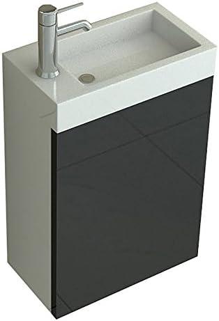 """Lavabo de salle de Bain Set Toilette Wc /""""Aarau/"""" aspect bois fonc/é ensemble meuble-lavabo /évier vasque lave-mains armoire de salle de bain"""