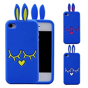 SJT 3D Blue Rabbit Ear Pattern Silicon Rubber Case for iPhone 4/4s(Assorted Colors) , Rose