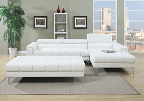 3Pcs Modern Contemporary Bonded Leather Sectional Sofa with Oversize Ottoman (WHITE) Review
