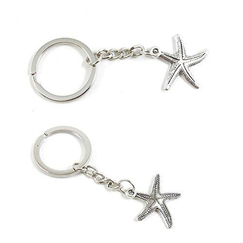(50 PCS Starfish Sea Star Keychain Keyring Jewelry Making Charms Door Car Key Tag Chain Ring C9AQ3K)