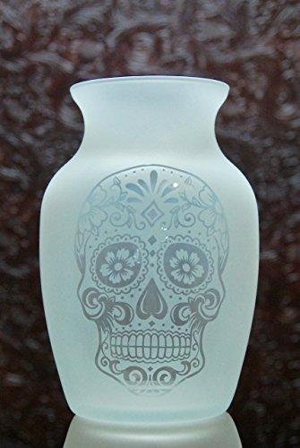 7.5 Inch Glass Etched Sugar Skull Vase - Design 1
