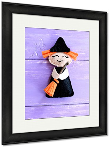 Ashley Framed Prints Funny Felt Witch Toy Isolated On Purple Wooden Halloween Crafts Idea For Kids, Wall Art Home Decoration, Color, 30x26 (frame size), Black Frame, AG6079252