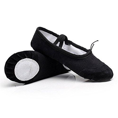 Gimnasia Zapatos Baile Zapatos Zapatillas Ballet Práctica gnrjgs Suela Negro de Ballet Yoga Planas Ballet Zapatillas Lona Split 8EUqzg