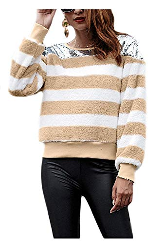 couleur Fluffy Zhrui Furry Sweat Abricot Rayures Hiver Top Womens Paillettes Patchwork XL Taille Bleu qAAzrE